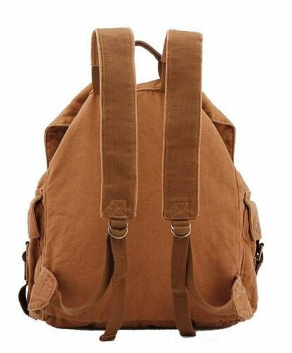 """Khak Men/'s Trendy /""""Colonial/"""" Italian Style Canvas Backpack with Leather Straps"""