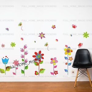 Details About Flowers Erflies Wall Stickers Art Decal S Kids Childrens Room Decor Uk