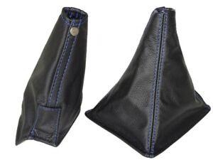 Gear-amp-Handbrake-Boot-For-Nissan-Skyline-R32-1989-94-Leather-Blue-Stitching