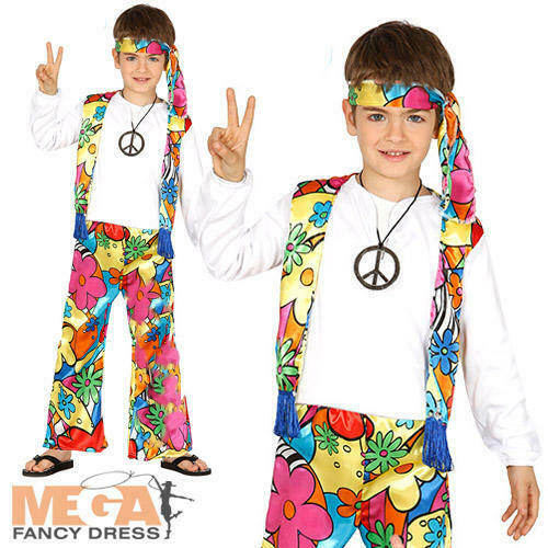 Hippie Kids Fancy Dress 1960s 1970s Flower Power Hippy Boys Girls Costume Outfit