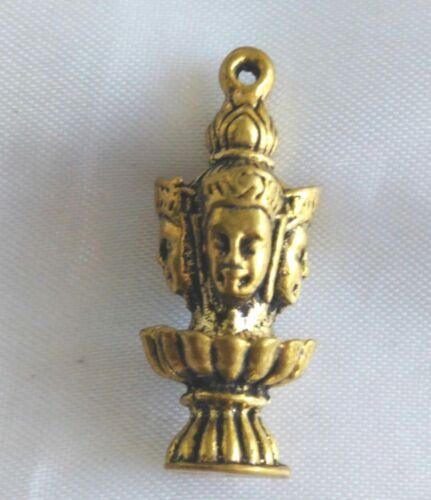 Pendant Statue Brahma 4 pages god Hindu Brass Fertile Talisman  Yant Thai Amulet
