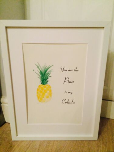 Pineapple Pina Colada Life Quote A4 Print Poster Art Framed Gift Home Decor