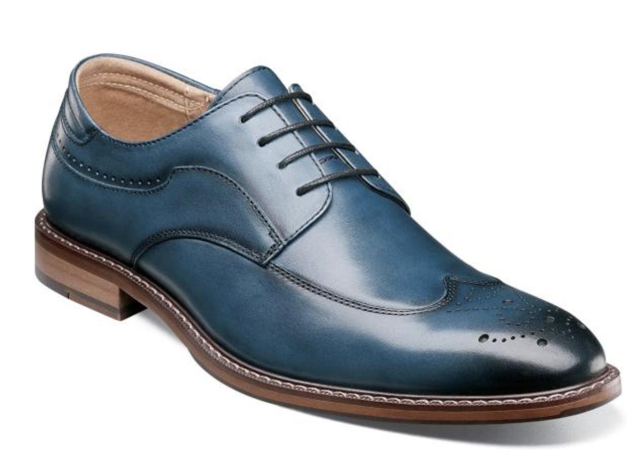 Stacy Adams Fetcher Bout D'Aile Oxford chaussures hommes En Cuir Indigo 25303-401