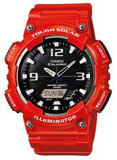 Casio Solar Analog/Digital Watch, Red Resin, 100 Meter, 5 Alarms, AQS810WC-4AV