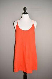 EILEEN-FISHER-228-Red-Scoop-Neck-Linen-Tank-Dress-Large