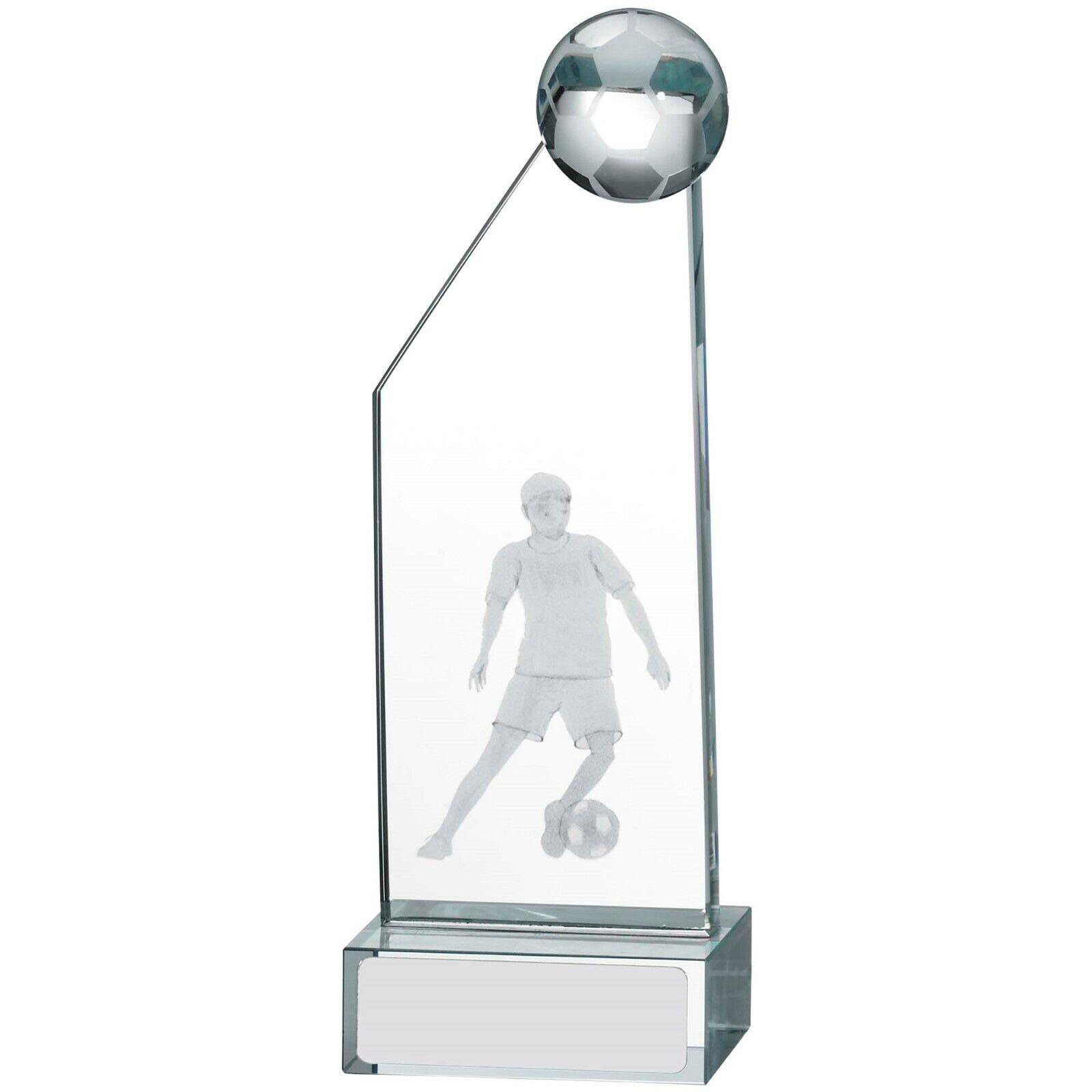 Football Edge Verre Récompense 3D Laser Image Trophée Gratuite Gravure & Soie