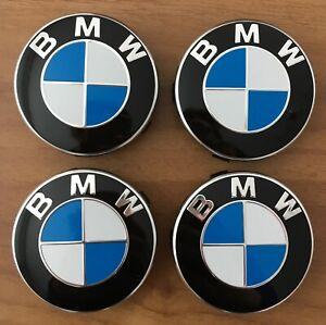 4-BMW-Embleme-Nabenkappen-Nabendeckel-Felgendeckel-Nabenabdeckung-68mm-ORIGINAL