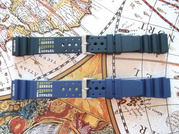 20 22mm Seiko Citizen Casio Apeks Resistant Black Blue Diving Resin Strap Band Clear-Cut-Textur