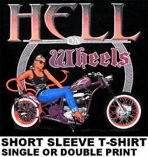 HELL ON WHEELS OLD SCHOOL BOBBER CHOPPER MOTORCYCLE PINUP GIRL BIKER T-SHIRT 623