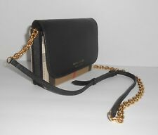 Burberry Womens Haymarket Check   Leather Wallet on Chain Black for ... e94a0cac6f4bd