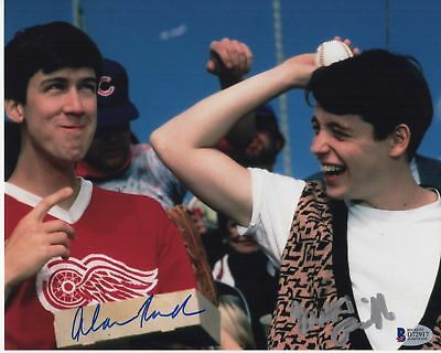 Self-Conscious Matthew Broderick Alan Ruck Signed Ferris Bueller's Day Off Photo 8x10 Auto Bas1 Movies