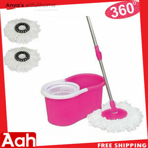 Easy-Magic-Floor-Mop-360-Bucket-w-2-Heads-Microfiber-Spinning-Rotating-Pink