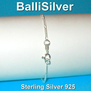 6-pcs-Sterling-Silver-925-Diamond-Cut-2mm-FIGARO-Chain-BRACELETS-Wholesale-Lot