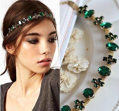 New Lady's Hair Accessory Green Crystal Gold Metal Headband Ring Hair Band
