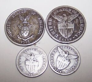 Lot-of-4-Silver-Philippines-Coins-1913-amp-1929-20-Cent-1919-amp-1945-50-Cent
