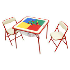 Metal Play Table Chair Set Dry Erase Board Building Blocks Kids Activity Toy