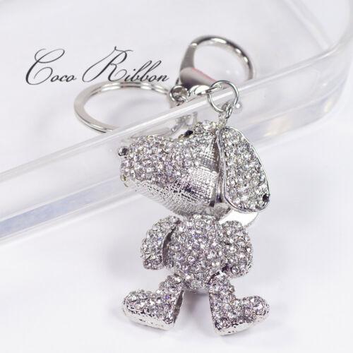Silver Dog Puppy Pet Rhinestone Crystal Bag Alloy KeyChain Key Ring Chain B10