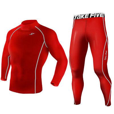 Take Five Mens Skin Tight Compression Base Layer T Shirts Pants Set TF 004 016