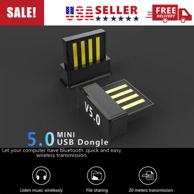 Wireless Dongle USB Bluetooth 5.0 Adapter For Window 7//8//10 Laptop Receiver Home