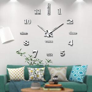 Details zu 3D Wand Uhr Wohnzimmer Wanduhr Aufkleber Spiegel Wohnzimmer für  Küche Büro Bad
