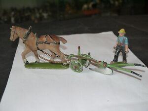 Figurine Quiralu La Ferme Charrue Avec Soc Tire Par Cheval Et Conducteur