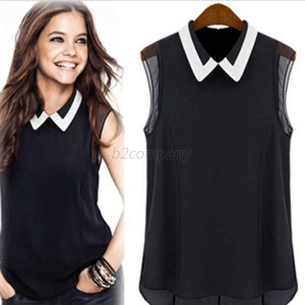 Women Lady Chiffon Career Sleeveless Vest Shirt Tank Top T Shirt Blouse 2 Colors