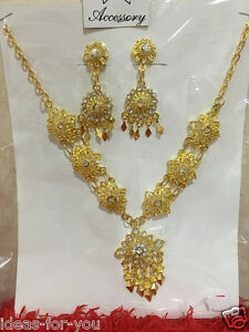 Thai Traditional Jewelry Set Wedding Necklace Earring Bracelet