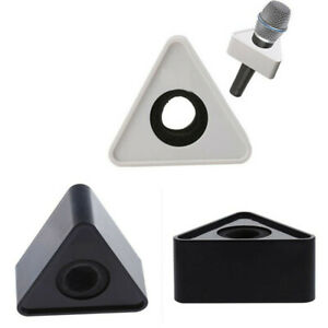 White-Black-ABS-Triangle-Mic-Microphone-Interview-Triangular-Logo-Flag-Station
