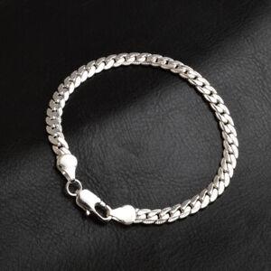 925-Sterling-Solid-Silver-Chain-Sideways-Bracelets-For-Men-Women-Jewelry-5MM