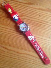 Kids Girls Hello Kitty Red Wrist Watch Analog Silicone Strap Steel Back