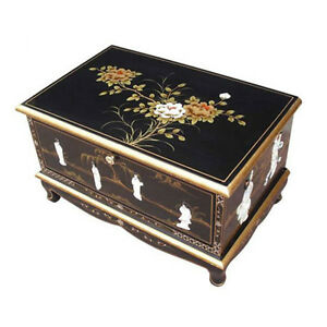 Mother Of Pearl Black Lacquer Oriental Furniture Tv Unit Stand