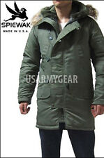 SPIEWAK Spivak OD Extreme Cold Weather N-3B Parka Real Coyote Fur Ruff Hood 34