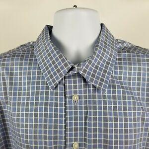Egara-Non-Iron-Slim-Fit-Mens-Blue-Gray-Check-L-S-Dress-Button-Shirt-Sz-2XL-XXL