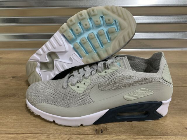 Nike Air Max 90 Ultra 2.0 Flyknit Shoes Pale Grey Armory Navy SZ ( 875943 006 )