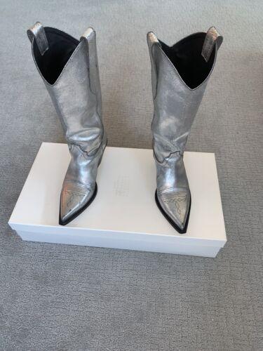 Maison Margiela Silver Leather Cowboy Boots EU - 4