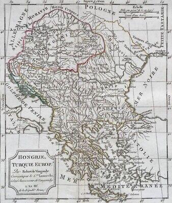 Carte De Hongrie, Turquie, 18ème Par Robert De Vaugondy Corrigée Par Lamarche