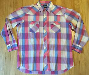 Plaid Snap Button Long Sleeve Vintage Mens 80/'s Wrangler Western Shirt L