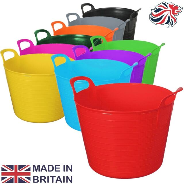 LIME GREEN 42L 42 Litre Large Flexi Tub Garden Flexible Storage Container Popula