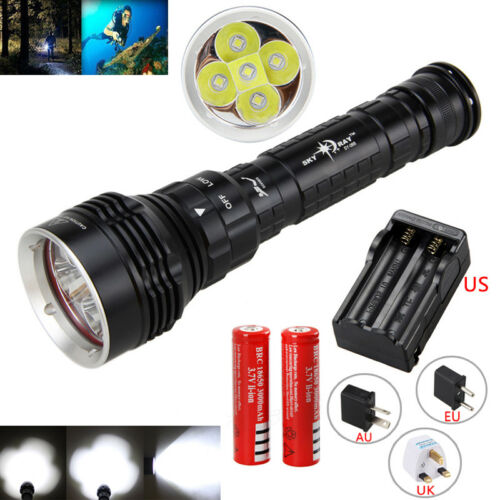 Underwater 30000LM XML L2 LED Diving Flashlight Scuba Torch Lamp Charger+Battery