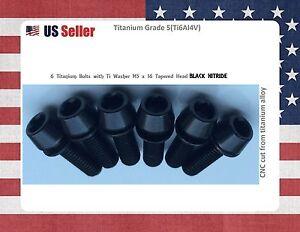 2 x Titanium Bottle Cage Bolts Black  M5X10  Grade 5  Black Nitride