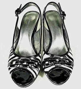 Women-039-s-ANNE-KLEIN-Heels-Zebra-Stripe-8-5M-Sling-back-Metal-Chain
