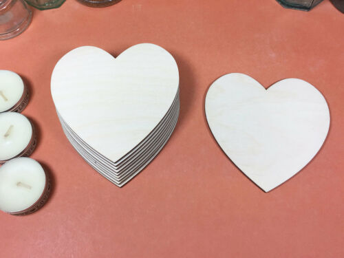 x10 laser cut wood cutouts crafts blank shape WOODEN HEARTS Shapes 10cm