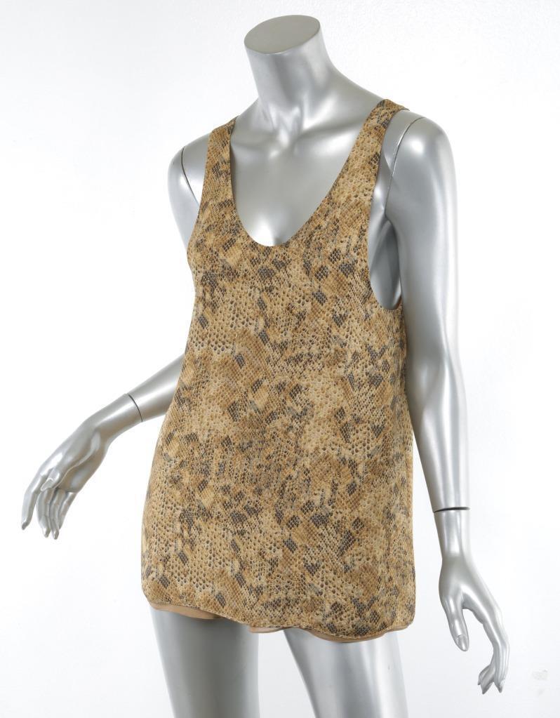CHLOE Damenschuhe Gold Tan Snakeskin Print SILK Sleeveless Tank Top Blouse 4-36