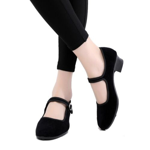 National Dance Shoes Female Black Cloth Low-Heel Round Toe Square Dance Shoes