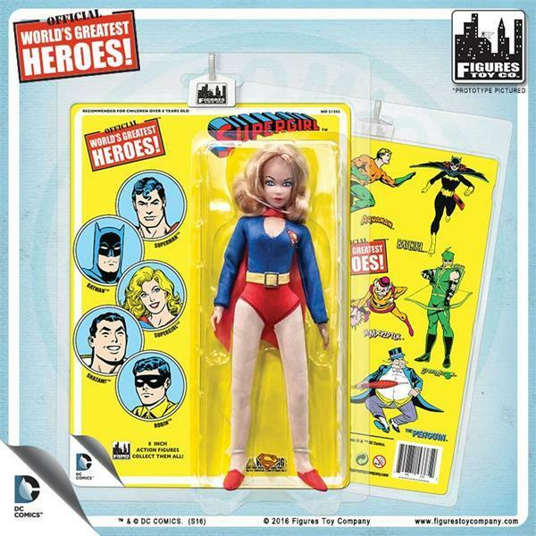 DC Comics 8 Inch SuperGirl Figure With retro styled Cards  mip  retired