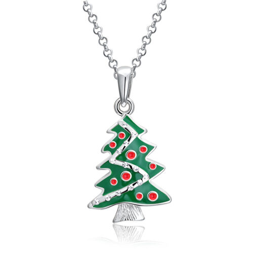 silver Christmas tree pendant necklace Italian twist chain