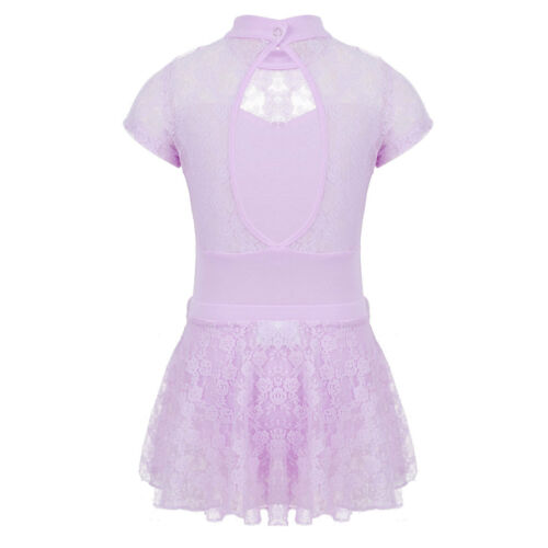 Girls Ballet Dance Dress Kids Gymnastics Leotard with Lace Tutu Skirt Outfits