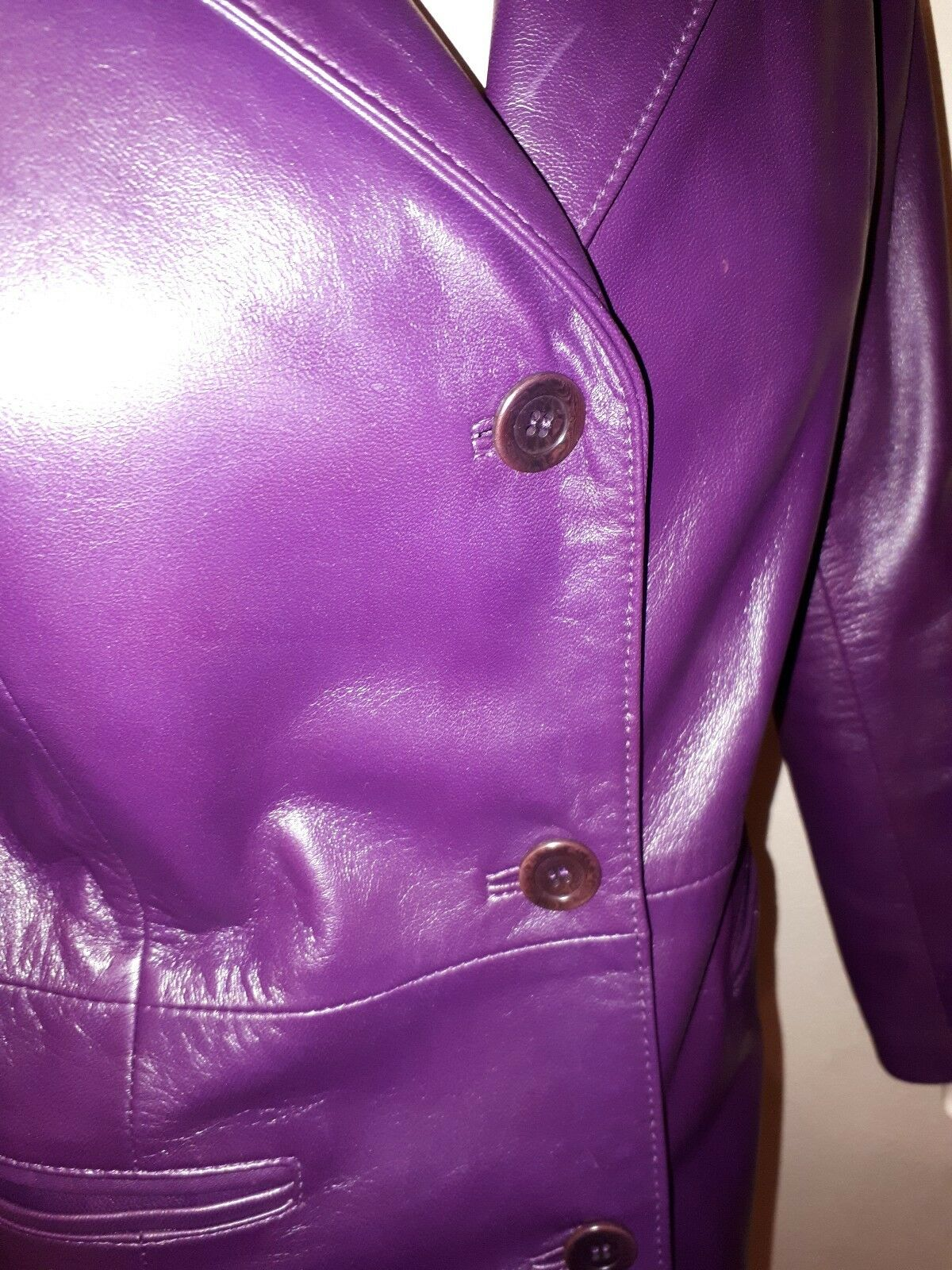 Coat Real Lamb Leather New Purple Classic Style Vintage Vintage Vintage Maxima Calidad Napa cb99a2