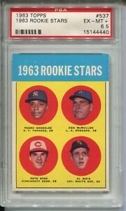1963 Topps Baseball #537 Pete Rose Rookie Card Graded PSA Ex MINT+ 6.5 Centered