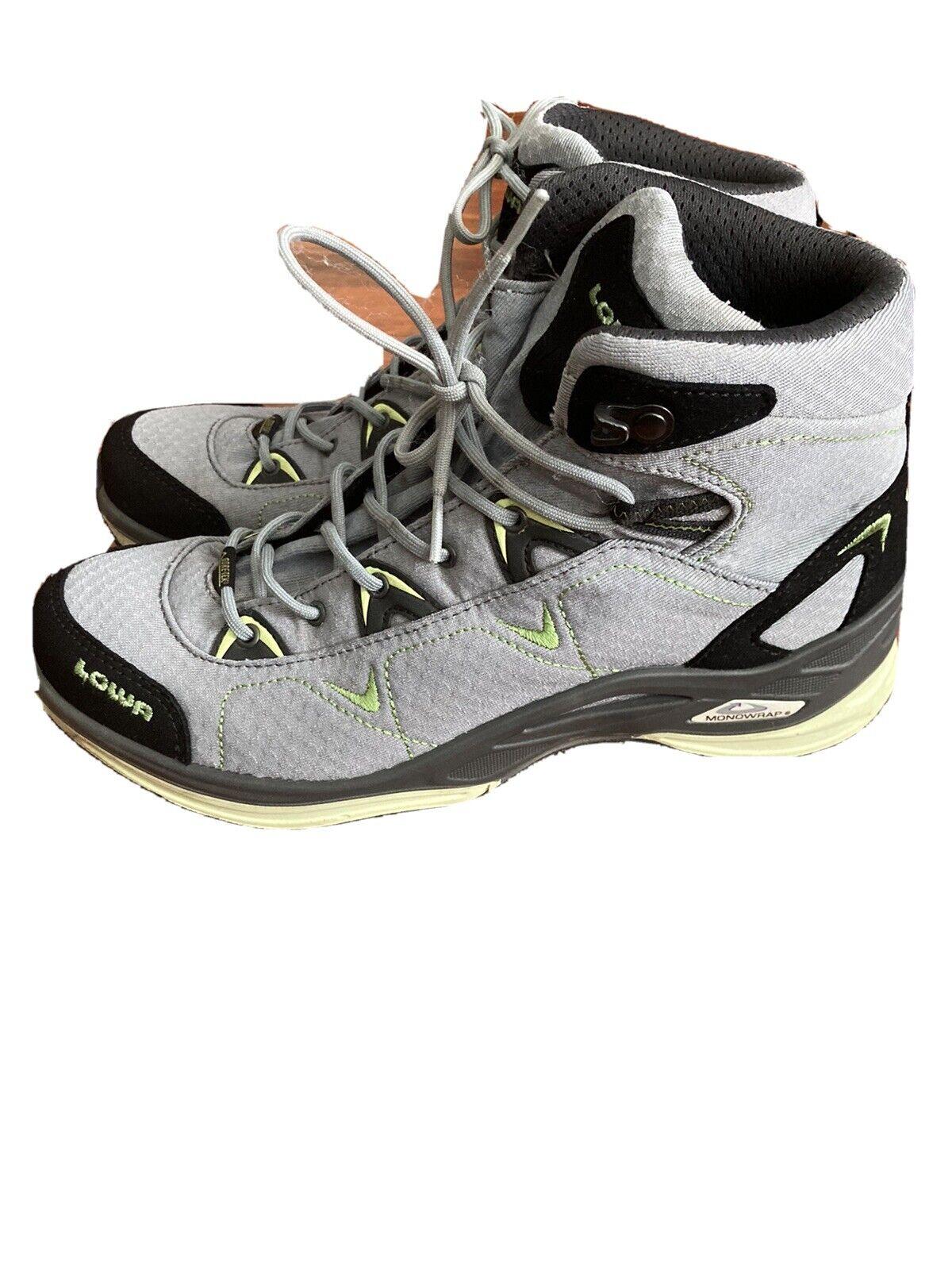 Women's Lowa Ferrox GTX Mid Gore-Tex Hiking Boots Size 7,5 Gray/Neon